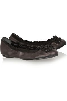 Sergio Rossi Suede-trimmed leather ballet flats @ The Outnet
