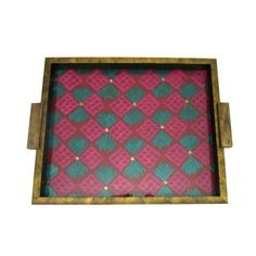 Pink and Blue Checkered Wooden Serving Tray  - FOLKBRIDGE.COM   Buy Gifts. Indian Handicrafts. Home Decorations.