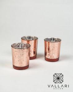 """Beautiful rose gold glass votive glass candle holders. Great for small floral arrangements, tealight or votive candles. Please note that each piece is unique so the """"speckled"""" design may vary slightly with each candle holder. These make the perfect addition to any vintage or elegant wedding! ✨Follow us on social media!✨ 👉Instagram - @VallariDecor 👉Pinterest - @VallariDecor 👉Facebook - @VallariDecor Votive Holder, Glass Candle Holders, Glass Votive, Votive Candles, Diy Centerpieces, Gold Glass, Mercury Glass, 40th Birthday, Beautiful Roses"""