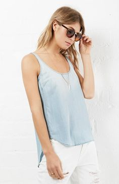 Kaelyn Sleeveless Chambray Tencel Tank in Light Blue XS - L | DAILYLOOK