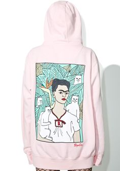 RIPNDIP Frida Nermal Hoodie cuz yer a piece of work, bb. This sik hoodie features a relaxed fit, pink hues, a drawstring hood detail, kangaroo pocket, and Nermal prints with a special Frida cameo in the back.