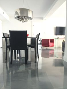 Grey metallic epoxy flooring manufactured by CTM Adhesives Inc. In Montreal, QC