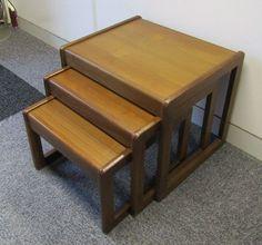 Vintage Retro Midcentury Modern 1960s Nest Three 3 Teak Coffee Tables Sunelm
