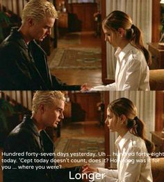 (SPOILER!!!!) My favorite Buffy moment ever, Spike seeing her for the first time after she  comes back from dead.