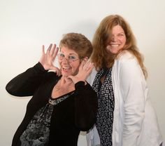 Support Receptionists Jeanne P and Nancy L ham for the camera
