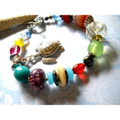 CHUNKY TURTLE Sea BRACELET, Handcrafted Turtle Sea Charm Beaded, Hand... ($20) ❤ liked on Polyvore featuring jewelry and bracelets