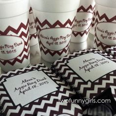 Personalized Cups and Koozies for an Aggie Ring Dunk Party. Whoop.