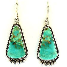NAVAJO SIGNED L GADNADO TURQUOISE EARRINGS NATURAL CABOCHON ROYSTON