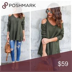 07583ec37ff New olive green cold shoulder thermal Cold Shoulder Raw Edges Not Lined  Size Small  26