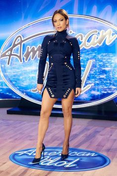 Jennifer Lopez at American Idol auditions in Philly in a sexy little blue dress and stilettos showing off her gorgeous legs