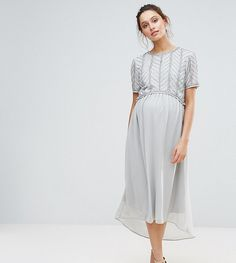 Maya Maternity Hi Lo Midi Dress With Embellished Bodice - Silver