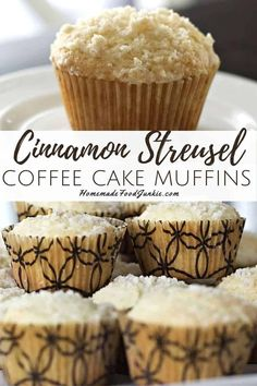 Soft, fluffy cinnamon coffee cake topped with a delicate cinnamon sugar streusel. These muffins are moist and full of flavor, they are easy to make and keep well for days.#cinnamonstreusel #muffins #easy #coffeecake #moist #fluffy #homemade Recipes With Yeast, Baking Recipes, Snack Recipes, Muffin Recipes, Bread Recipes, Breakfast Recipes, Cinnamon Streusel Muffins, Cinnamon Coffee, Biscuit Muffin Recipe