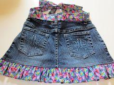 Minha Colcha de retalhos: saia jeans criança de um par de jeans