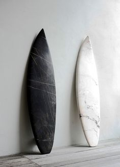 Marble surfboards by artist Reena Spaulings @ Sutton Lane