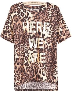 Leopard Short Sleeve HERE WE ARE Print T-Shirt - Sheinside.com