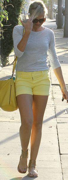Who made Cameron Diaz's stripe long sleeve gray top and yellow shorts? Shirt – T by Alexander Wang  Shorts – Alice + Olivia