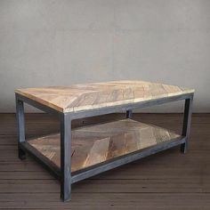 Reclaimed Wood and Metal Coffee Table Two Tier, Chevron Pattern - Free Shipping - JW Atlas Wood Co.