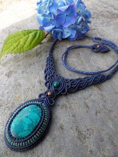 Chrysocola - Macrame necklace - stone size approx. 3.5/2.3g
