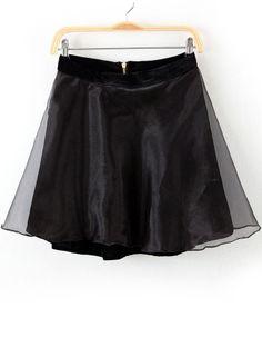 Black Zipper Contrast Organza Flare Skirt EUR€15.82