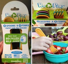 Re-Play children's tableware collection - made from recycled milk jugs. LOVE everything about this product and company.