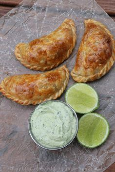 Crawfish and Andouille Empanadas with avocado dipping sauce