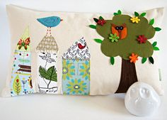 Pillow Cushion Cover/Houses and Tree Owl by dagmarsdesigns on Etsy