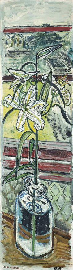 John Bratby, R.A. (1928-1992). Lilium Auratum, oil on canvas, 57½ x 16 in. (146.1 x 46.5 cm).