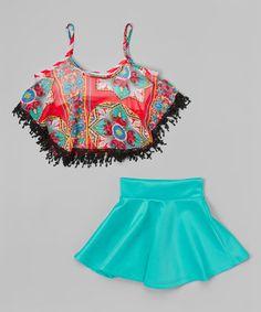 Blue Fringe Tank & Skirt - Girls