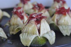 Tomates verdes fritos: Higos con jamón ibérico y gorgonzola