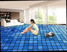 48.98$  Watch here - http://ali78x.worldwells.pw/go.php?t=32728383414 - 3D floor bathroom custom 3d floor painting blue mosaic squares self-adhesive vinyl flooring adhesive  48.98$