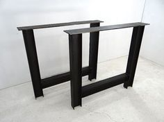 Youre looking at a strong statement in steel coffee table legs. These are welded ibeams, ready to hold the heaviest of table tops. The industrial structure works with everything from live edge slabs to reclaimed wood to butcher block or even marble tops. These are our most robust legs to date.  These legs have a natural patina protected by a clear coat finish to preserve the industrial look. Edges have been ground down and the top bar runs the full width of the legs to support the full…