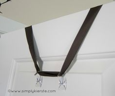 how to hang something without putting a nail in the door...command hooks...upside down no less!