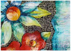 Carte de voeux fleurs 5x7  carte de souhaits fleurie Marika Lemay mixed media artiste carte de souhaits minimaliste rouge et turquoise de la boutique MarikaLemayArtiste sur Etsy