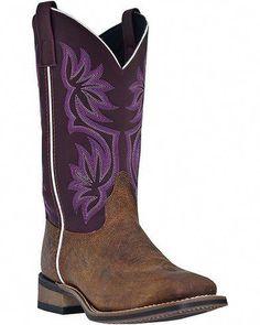 9d2b66c158 Laredo Fancy Stitched Purple Cowgirl Boots - Square Toe