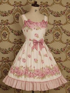 classic sweet lolita jsk pinkroses and white