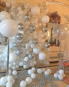 """Elegance in White"". Beautiful Background for an unforgettable dinner. Event Designer : ""Elegance in White"". Beautiful Background for an unforgettable dinner. Silver Party Decorations, Prom Decor, Balloon Decorations, Birthday Party Decorations, Disco Theme Parties, Balloon Wall, Balloon Arch, Champagne Party, 18th Birthday Party"