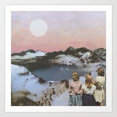 Moon Dream Art Print by Leafandpetal - X-Small Framed Art Prints, Canvas Prints, Dream Shower, Dream Art, Pop Surrealism, Buy Frames, Collage Art, Dream Collage, Metal Art