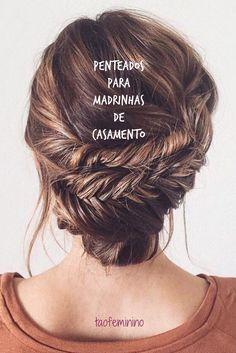 50 fotos de penteados para madrinhas: Trança, coque, meio preso, solto, com acessório, enfim, inspirações certeiras para levar ao salão e reproduzir!