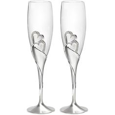 Sparkling Love Flutes (115 BRL) ❤ liked on Polyvore featuring home, kitchen & dining, drinkware, bar & wine, bar & wine accessories, hortense b. hewitt, stem champagne flutes, champagne glassware, wine flutes and champagne wine glasses