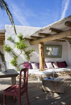 Rustic Looking Spectacular: Spanish House on Formentera Island.this is my dream outdoor living space. Outdoor Rooms, Outdoor Gardens, Indoor Outdoor, Outdoor Living, Outdoor Decor, Outdoor Lounge, Outdoor Seating, Outdoor Couch, Rustic Outdoor