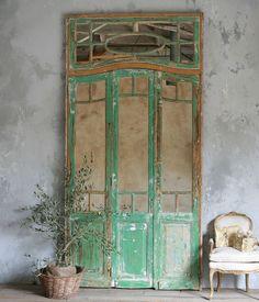 Aged green mirrored doors