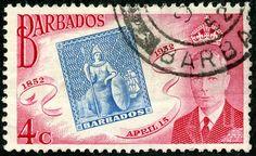 """Barbados  1952 Scott 231 4c rose pink & blue """"Stamp of 1852"""""""