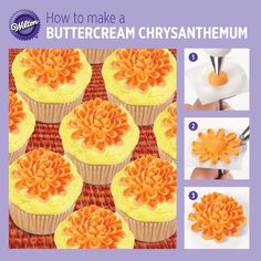 Chrysanthemum is a fall classic that's easier to pipe than you would think. The secret to success - the curved opening of Wilton's specialty cake decorating tip used with a simple leaf-making motion. Cake Decorating Icing, Cake Decorating Techniques, Cake Decorating Tutorials, Cookie Decorating, Decorating Ideas, Baking Cupcakes, Cupcake Cakes, Fondant, Decorator Frosting