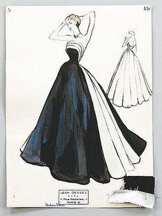 Jean Dessès fashion sketches, Winter, 1951
