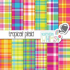 """Summer Digital Paper - """"Tropical Plaid"""" - seamless plaid patterns in hot pink, purple, lime, yellow, Tropical Colors, Bright Colors, Colours, Aqua Blue, Pink Purple, Blue Orange, Yellow, Digital Scrapbook Paper, Graphic Design Projects"""