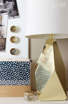 Make beautiful gold office accessories with spray paint!