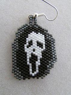 Ghoul Halloween Earrings in delica seed beads