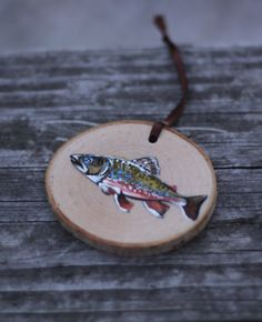 Brook Trout rustic Christmas ornament hand painted by ImageVermont, $12.00