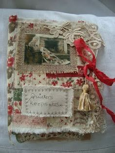 I was delighted to sell the book from my last post. Here it is carefully wrapped in a piece of vintage linen and already on it's way. Journal Covers, Art Journal Pages, Book Covers, Fabric Journals, Art Journals, Vintage Journals, Altered Books, Altered Art, Fabric Art