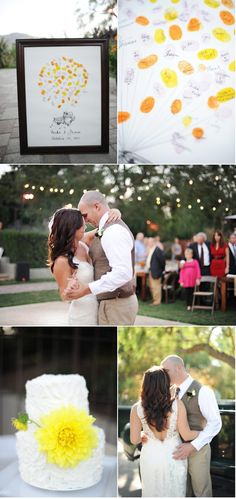 Love the finger print guest book. Camarillo Wedding by Hazelnut Photography | Style Me Pretty
